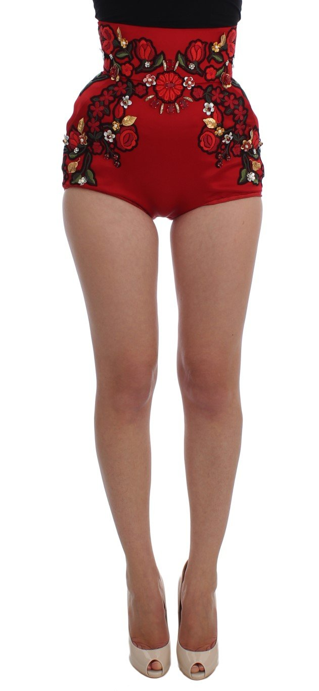 Dolce & Gabbana Women's Silk Crystal Roses Shorts Red SIG20115 - IT40|S