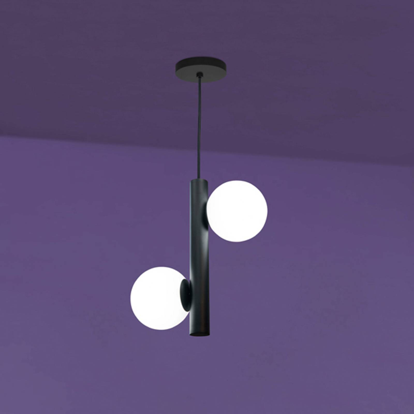 Riippuvalo Tin-Tin, 2-lamppuinen, musta