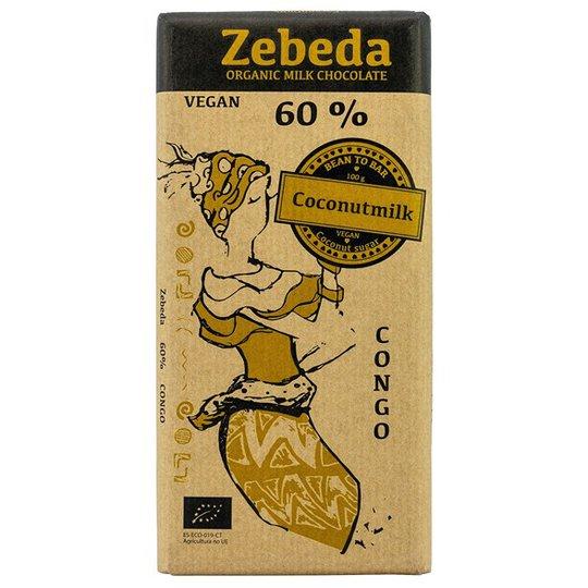 Zebeda Chocolate Ekologisk Mjölkchoklad 60% med Kokosmjölk, 100 g