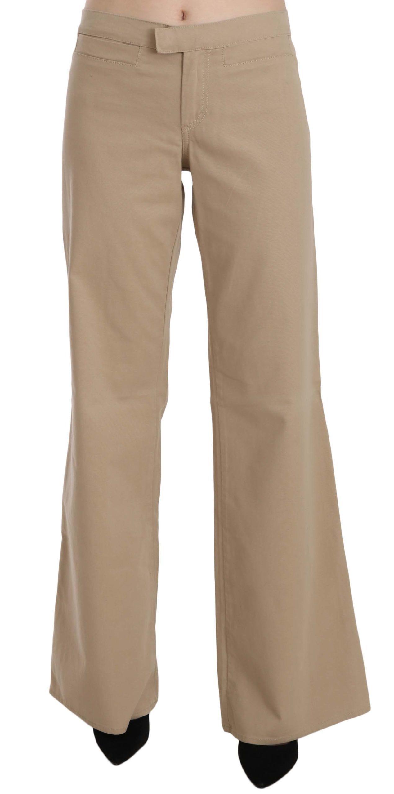 Just Cavalli Women's Mid Waist Flared Trouser Beige PAN70364 - IT44|L
