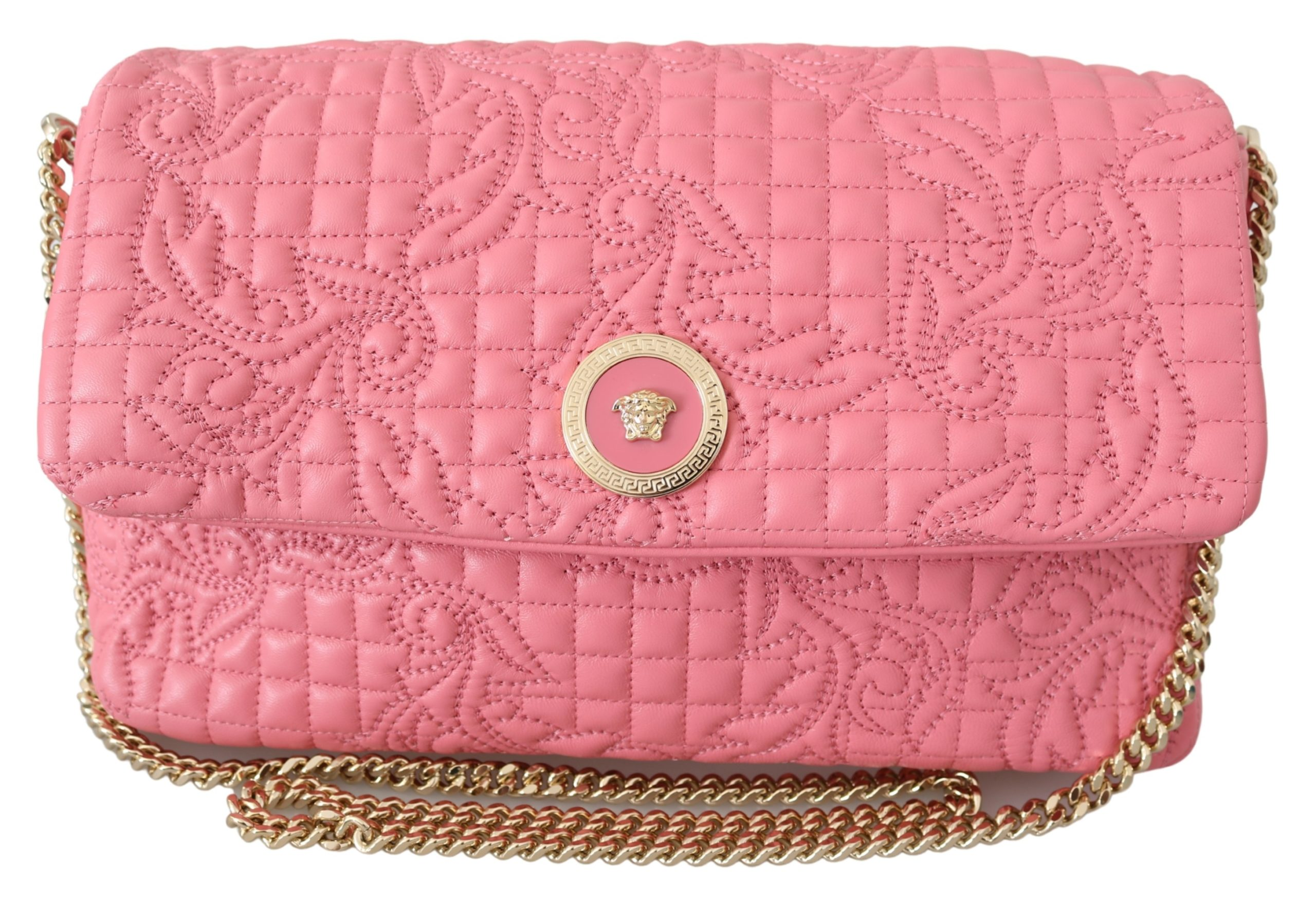 Versace Women's Quilted Nappa Leather Handbag Pink 8053850413966