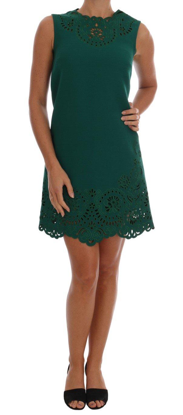 Dolce & Gabbana Women's Floral Cutout Silk Wool Dress Green DR1210 - IT38 XS