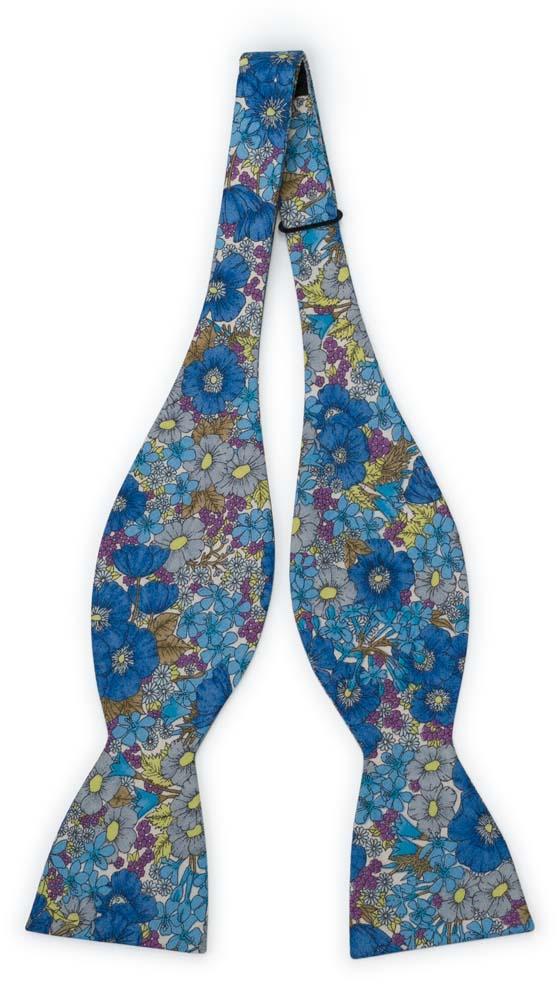 Bomull Sløyfer Uknyttede, Blomster i blått, lilla, oliven & gult på hvitt