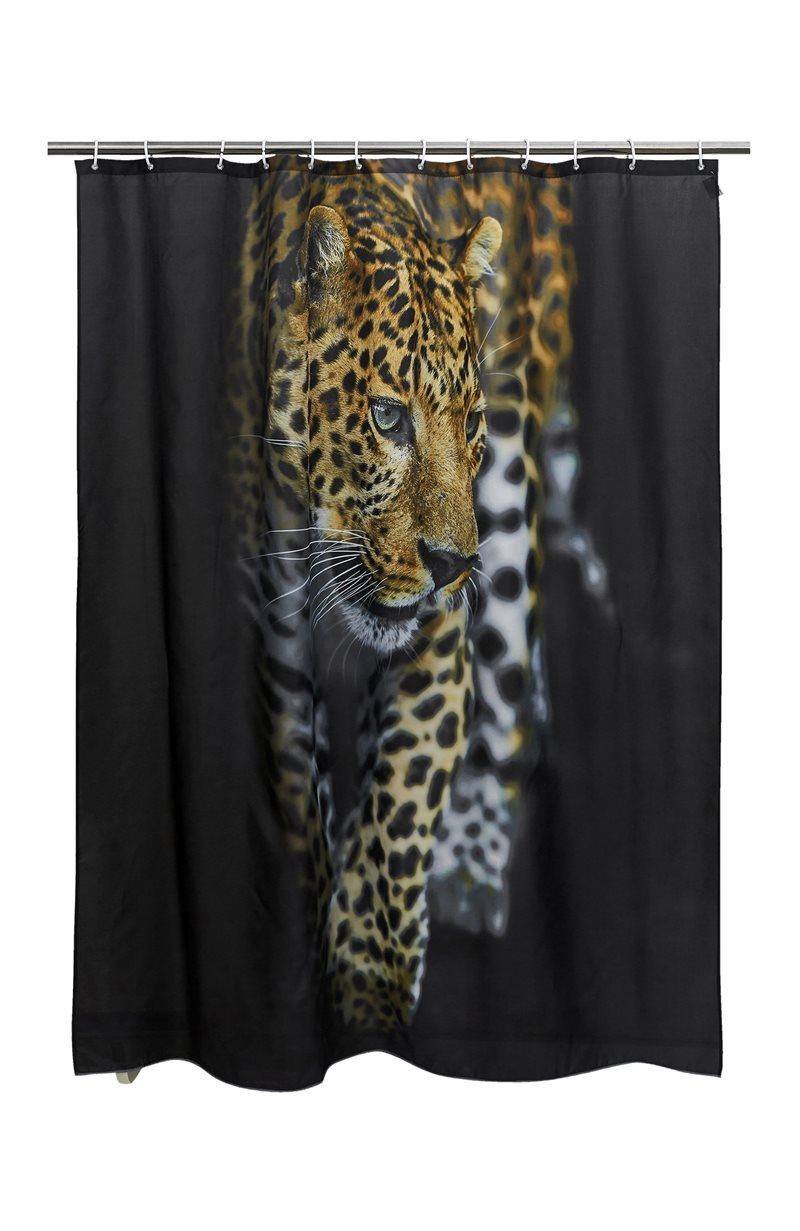 Suihkuverho, digitaalinen painokuvio Jaguar