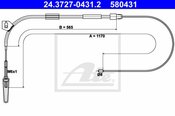 Käsijarruvaijeri ATE 24.3727-0431.2