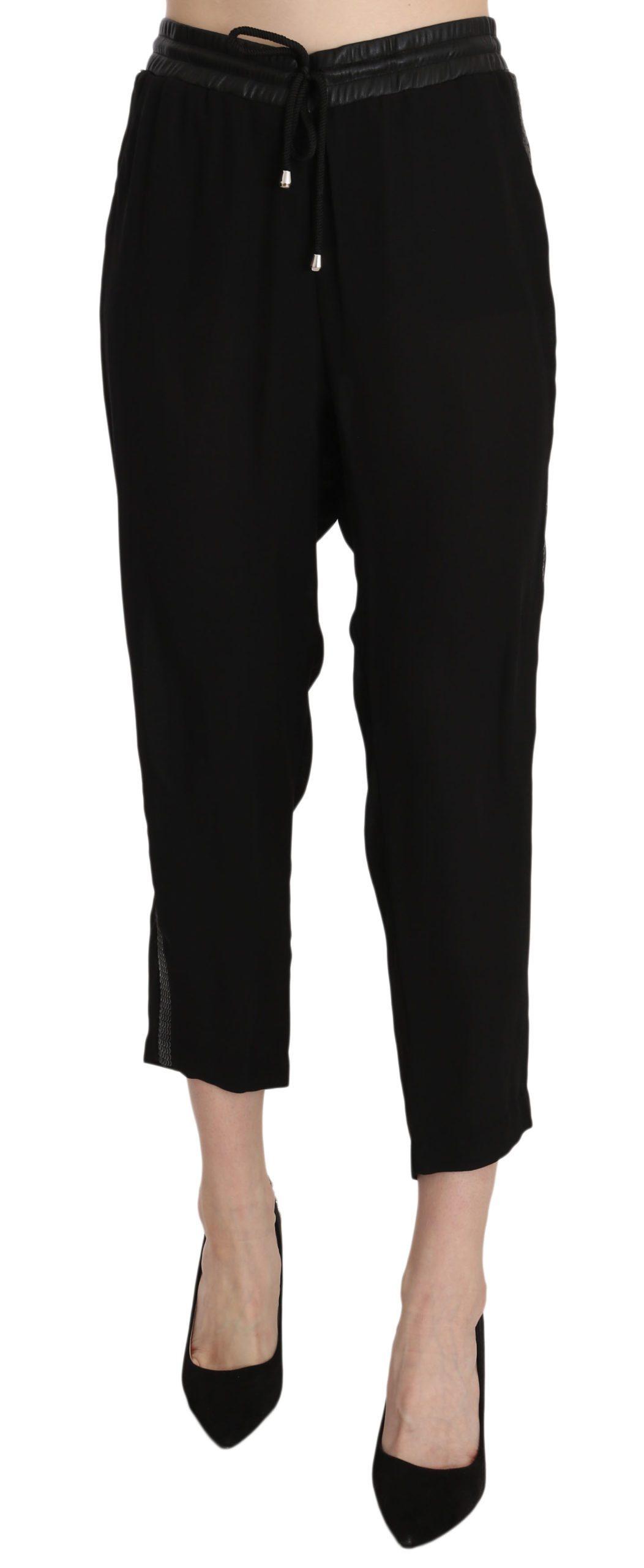 Guess Women's Polyester High Waist Cropped Trouser Black PAN70295 - IT44 L