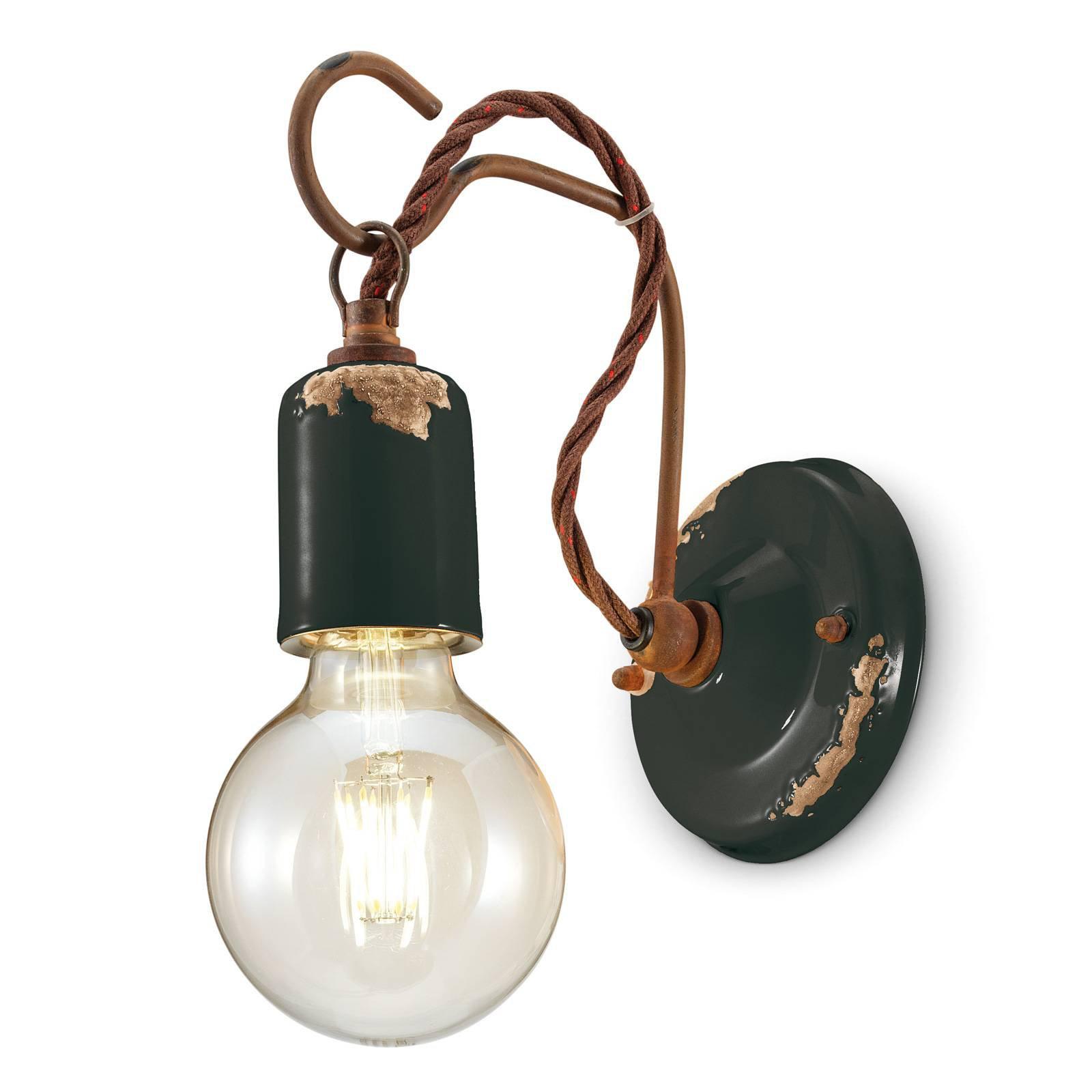 Vegglampe C665 i vintage stil, svart