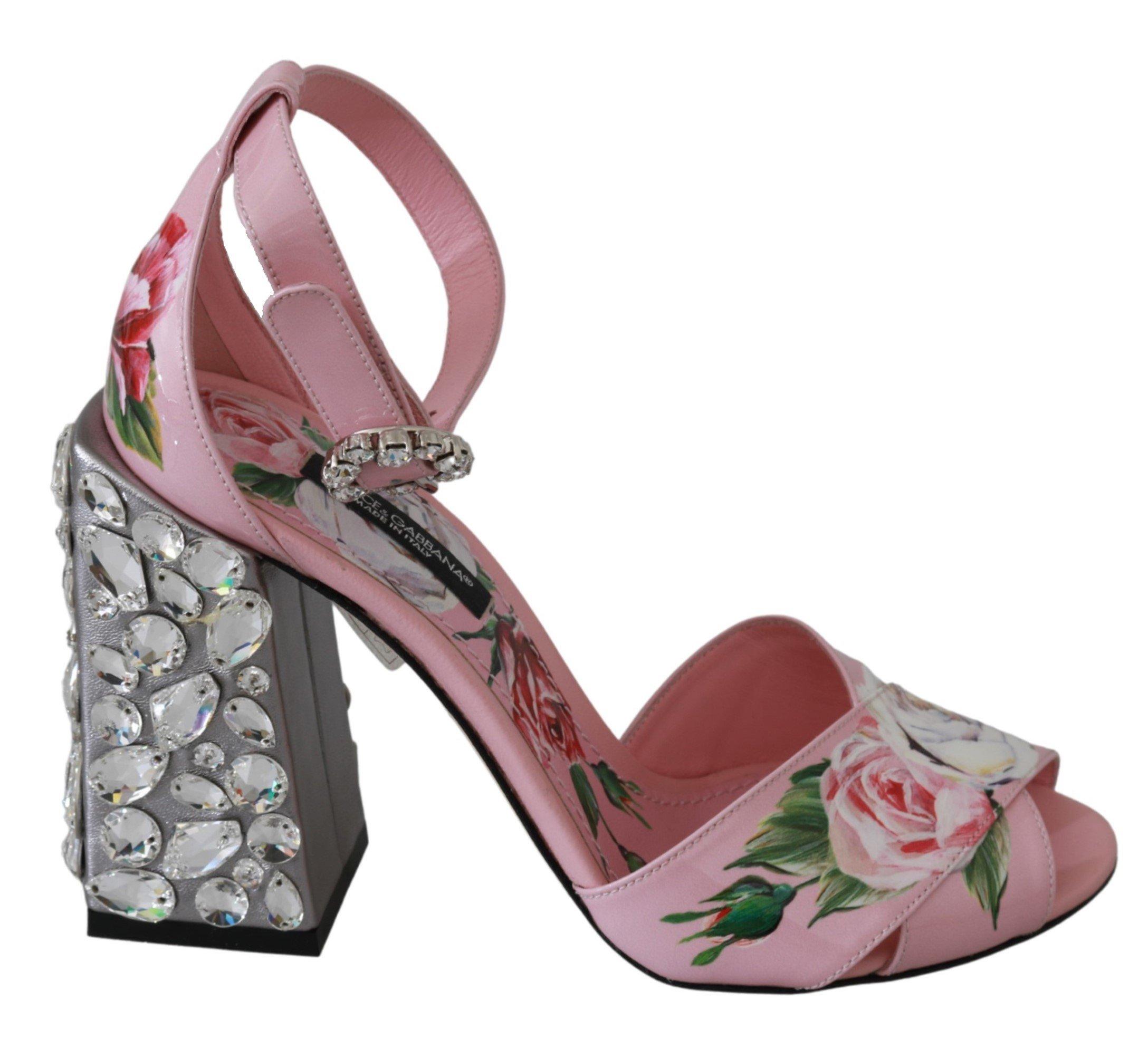 Dolce & Gabbana Women's Floral Leather Crystal Sandals Pink LA6515 - EU35.5/US5
