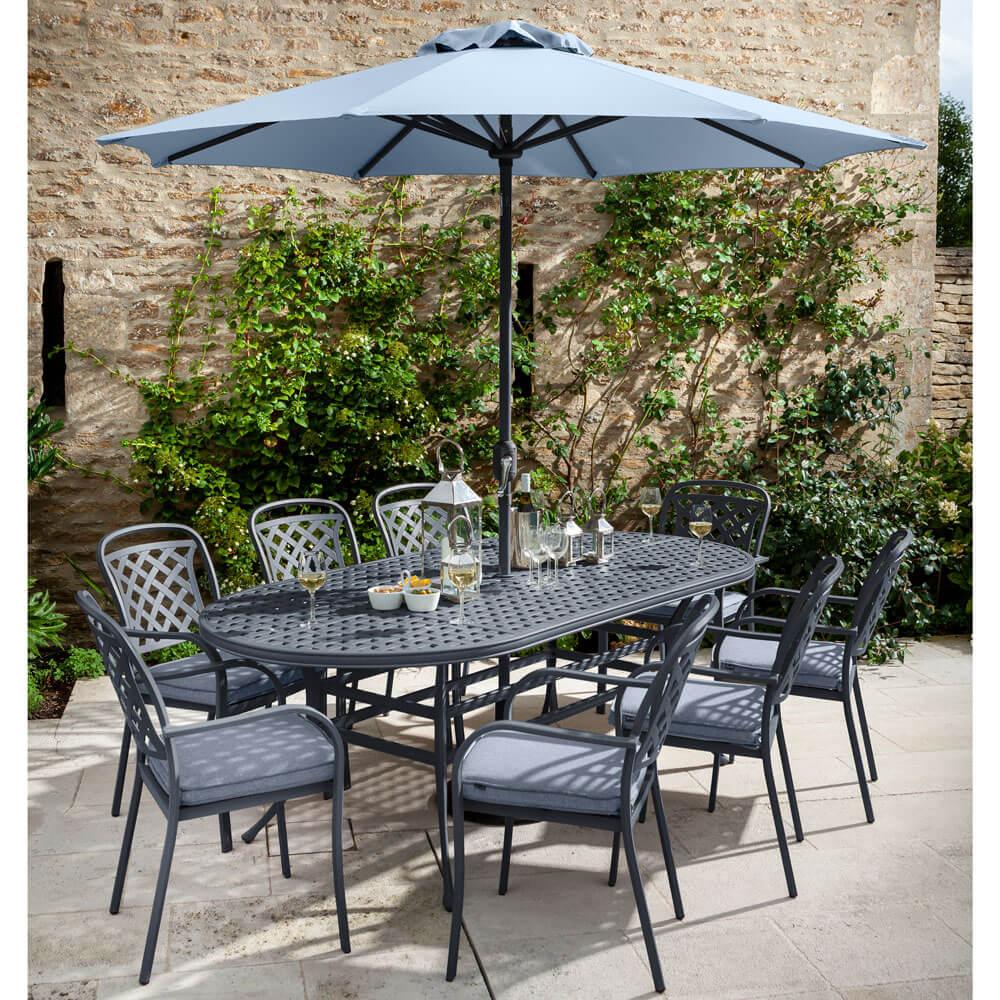 2021 Hartman Berkeley 8 Seat Garden Dining Set With Oval Table & Parasol - Antique Grey/Platinum
