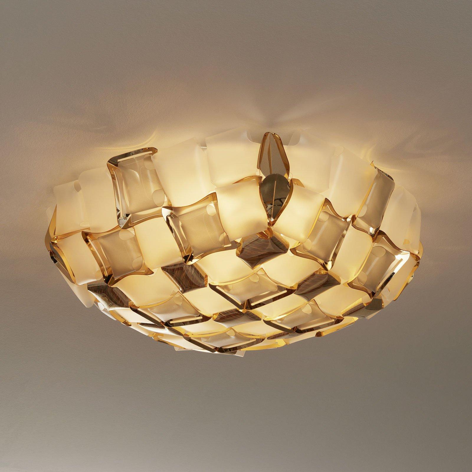 Slamp Mida taklampe, Ø 67 cm, gull/hvit