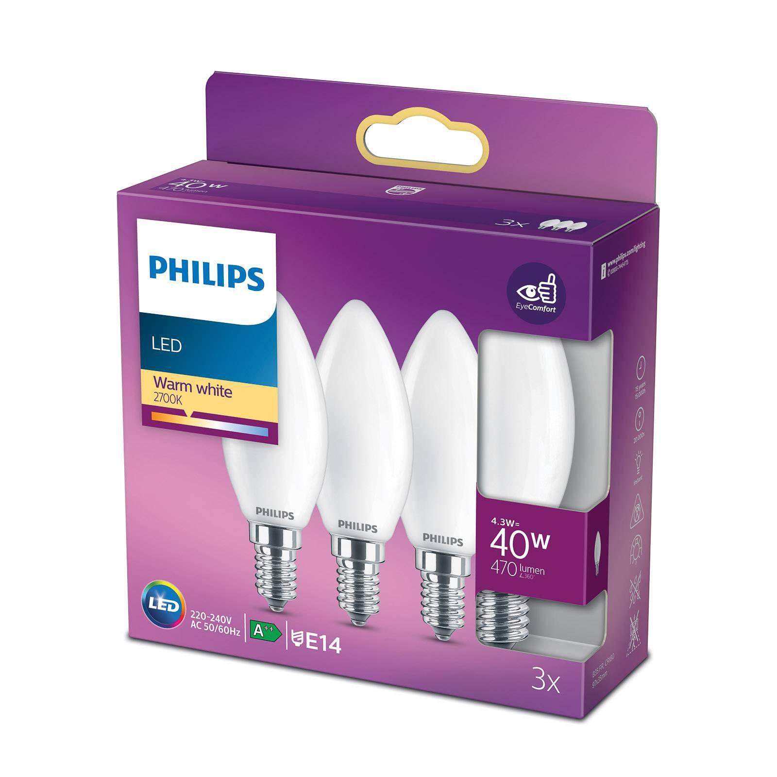 Philips LED-mignonpære E14 B35 4,3 W matt 3-pakke