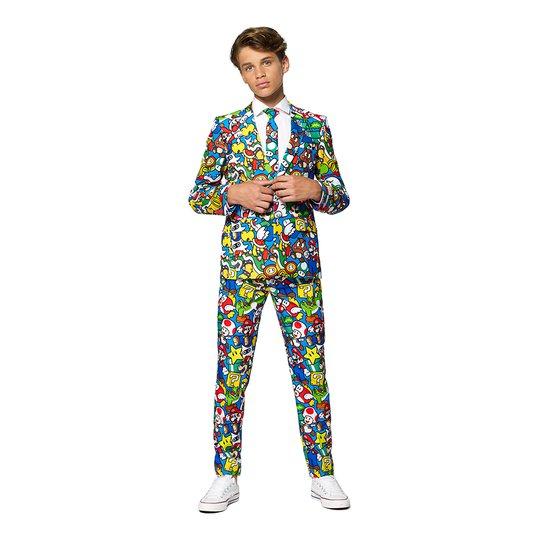 OppoSuits Teen Super Mario Kostym - 134/140