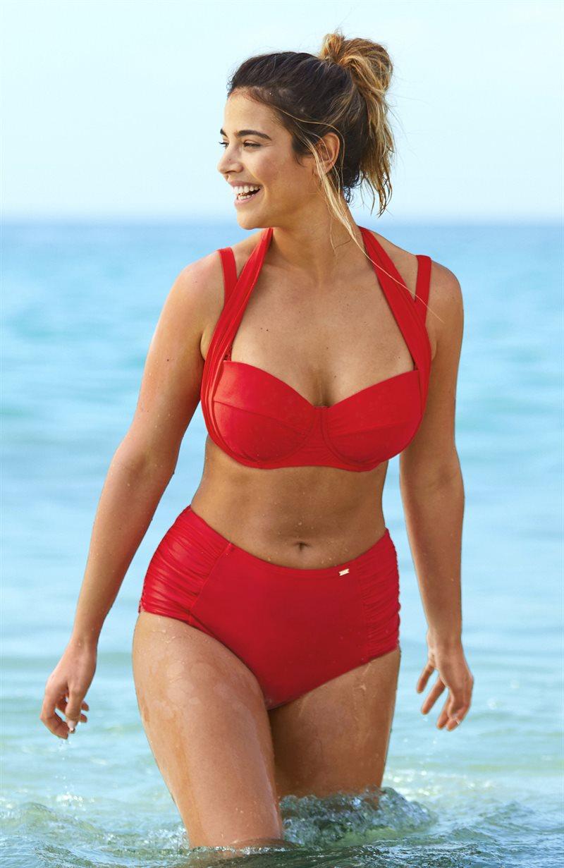 Punaiset korkeavyötäröiset bikinihousut
