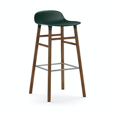 Form Barstol Grön/Valnöt 75 cm