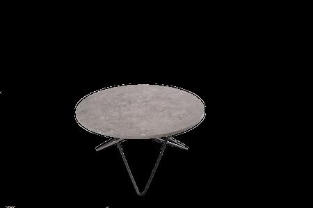 O Table Grå Marmor med Svart Ramme Ø80