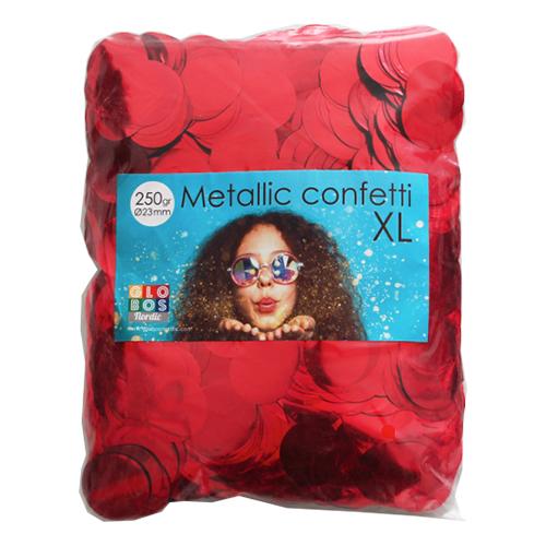 Konfetti Stora Röd Metallic - 250 gram