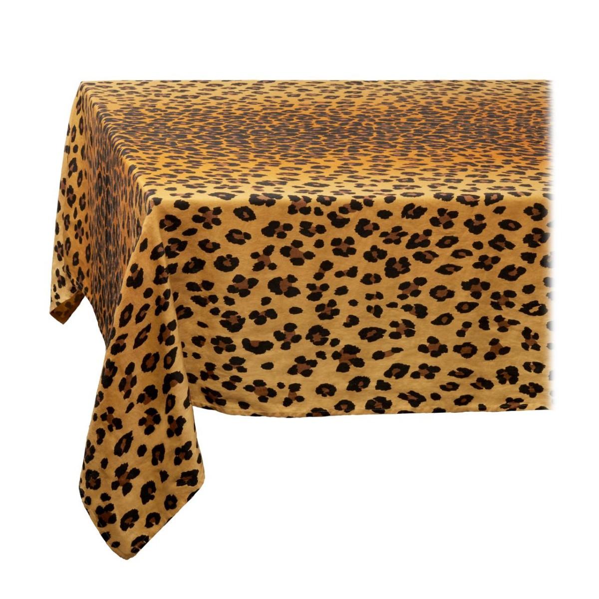 L'Objet I Linen Sateen Tablecloth I Large I Leopard - Natural