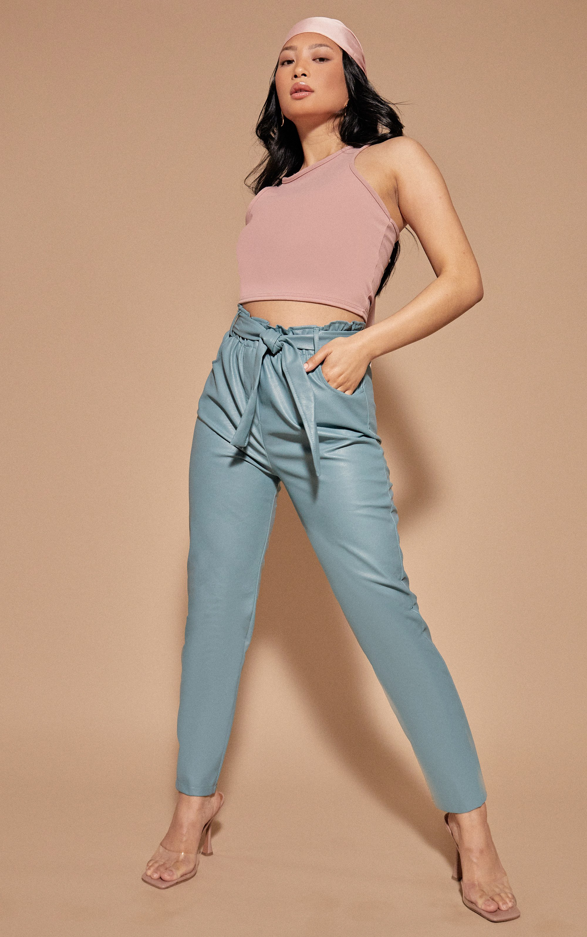 Belted PU Leather Trousers - Blue / 8