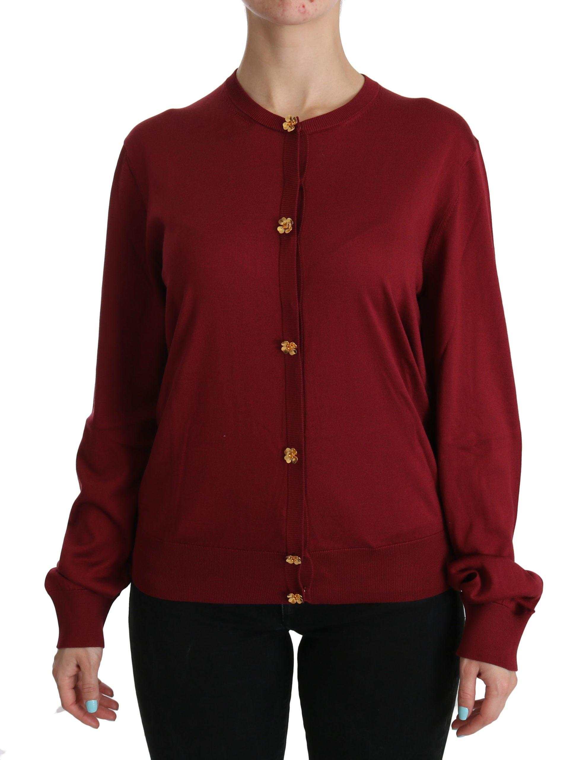 Dolce & Gabbana Women's Silk LS Cardigan Red TSH3860 - IT50   XXL