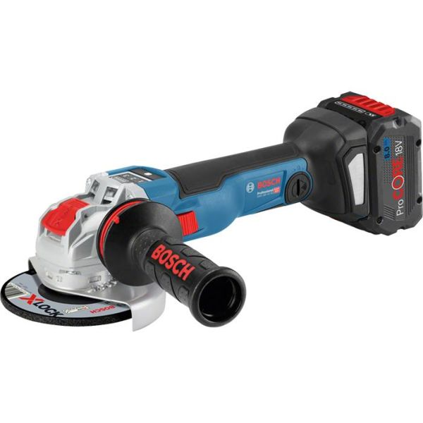 Bosch GWX 18V-10 SC Vinkelsliper X-LOCK, 8,0Ah batterier og lader