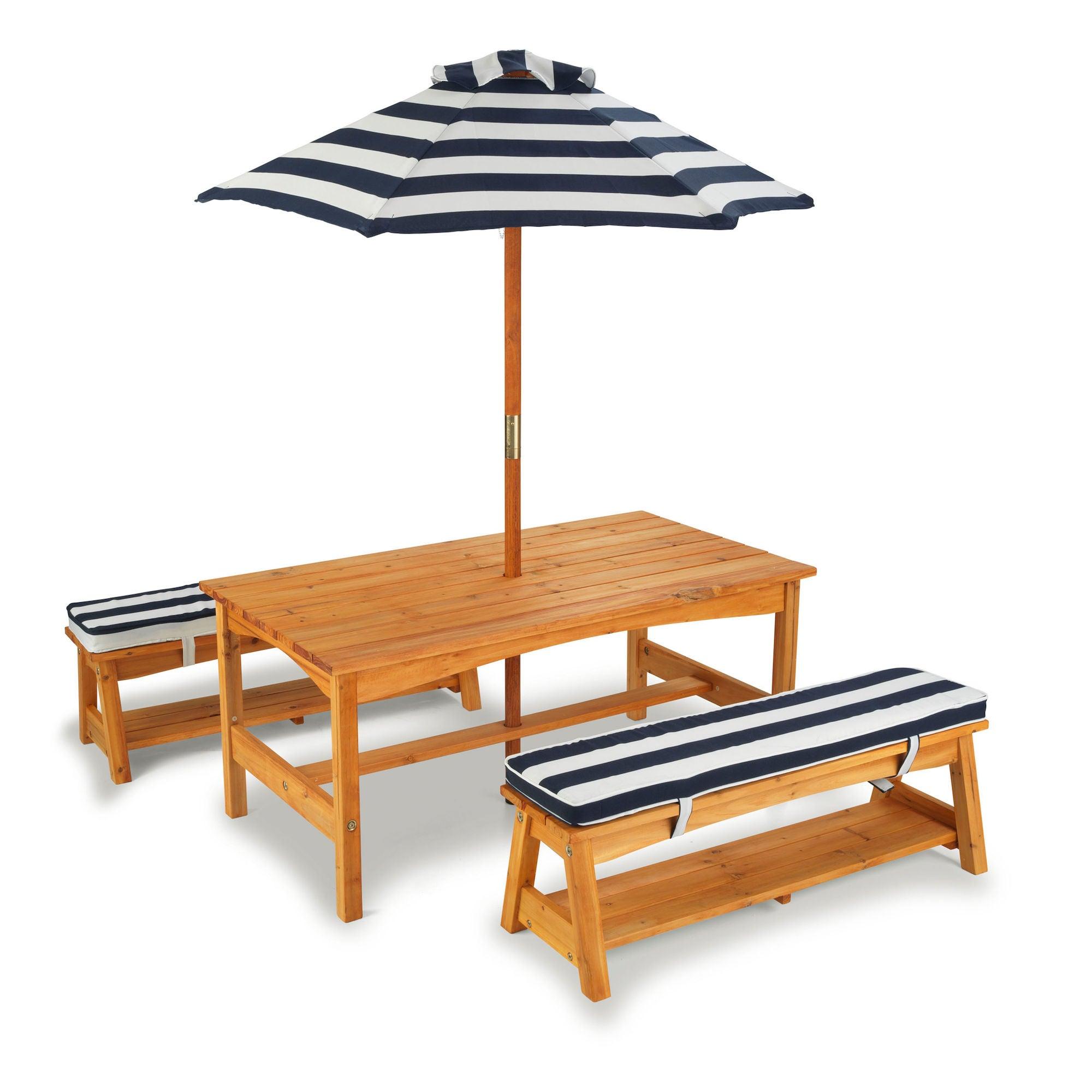 KidKraft Pöytä, Penkit Tyynyillä ja Päivänvarjo, Sininen/Valkoinen