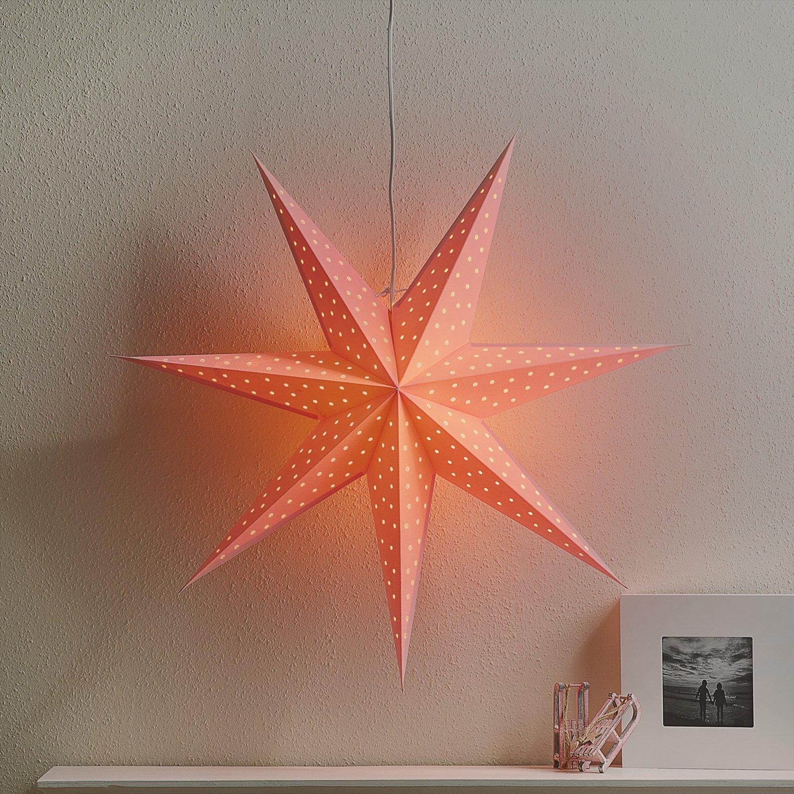 Stjerne Clara opph., fløyel-optikk Ø 75 cm, rosa