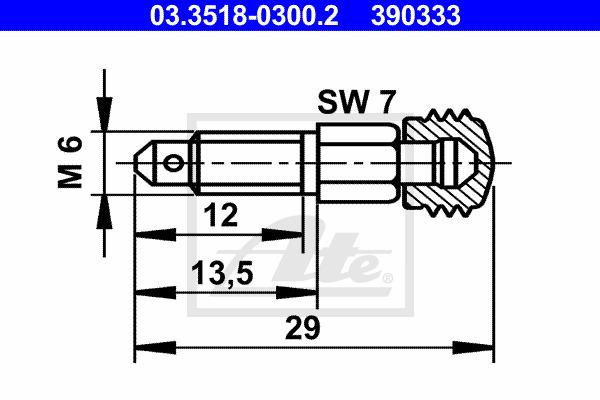Huohottimen pultti / venttiili ATE 03.3518-0300.2