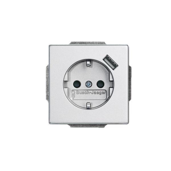 ABB 2011-0-6160 Vegguttak 1-veis, inkl. USB 0,7 A Aluminium