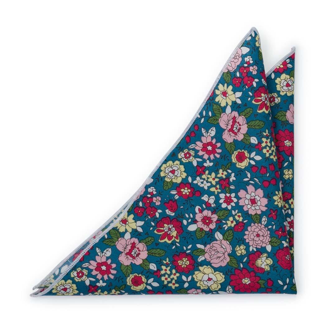 Bomull Lommetørkler, Blomster i rødt, rosa, gult og mørk Bondi Blue