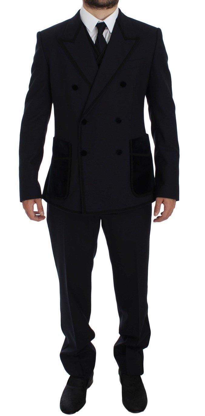 Dolce & Gabbana Men's Wool Torero Slim 3 Piece Suit Tuxedo Blue GTT10150 - IT52   XL