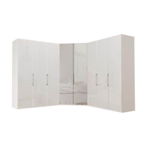 Garderobe Atlanta - Hvit 150 + walk-in + 150, 216 cm, Hvitt glass