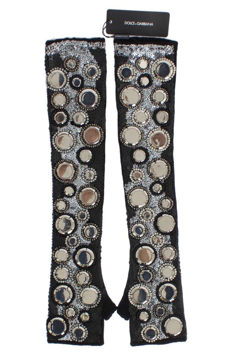 Dolce & Gabbana Women's Cashmere Sequined Finger Less Gloves Black LB64 - S