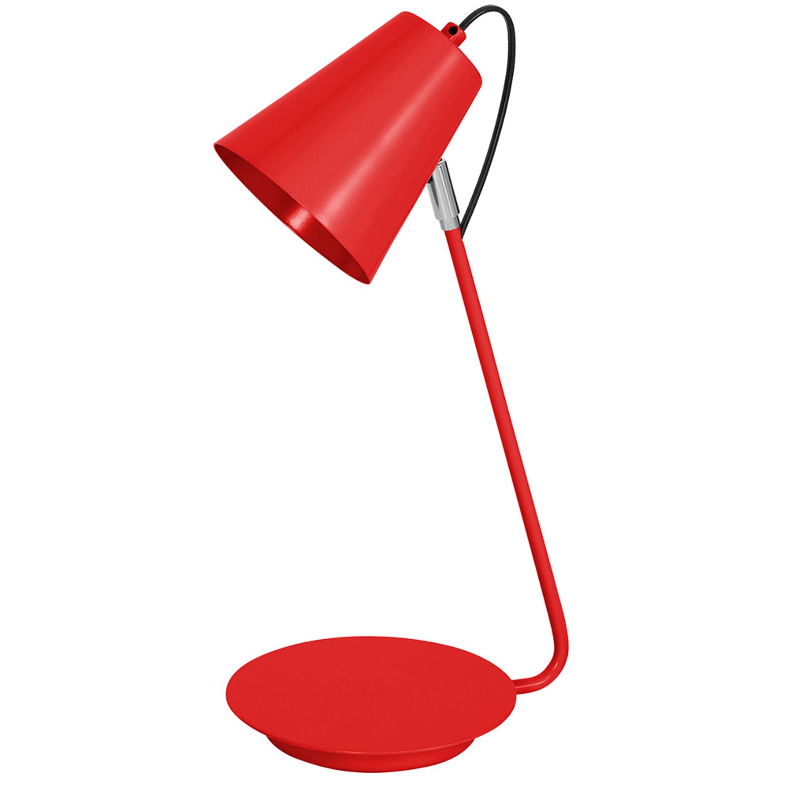 Pöytälamppu 8301, kromattu yksityiskohta, punainen