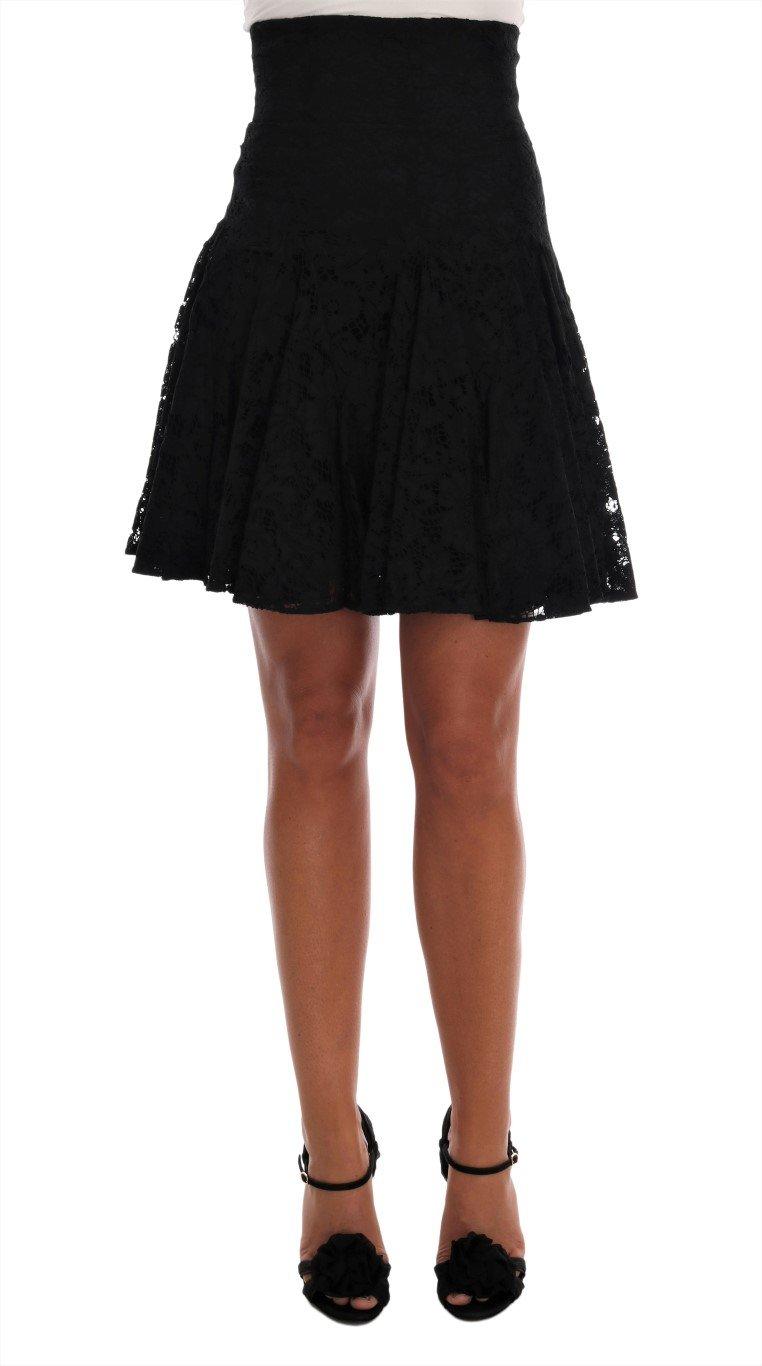 Dolce & Gabbana Women's Floral Cutout Lace A-Line Skirt Black SKI1041 - IT36   XS