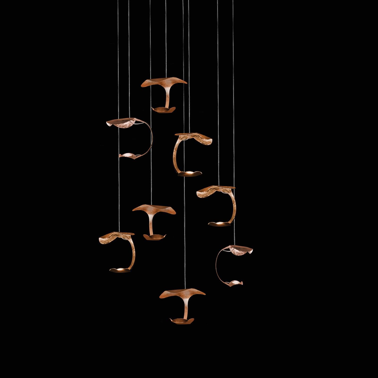 Knikerboker Le Gigine -LED-valo 8-lamp. kupari