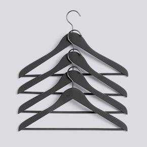 HAY - Soft Coat Hanger With Bar Slim Set of 4 - Black (500083)