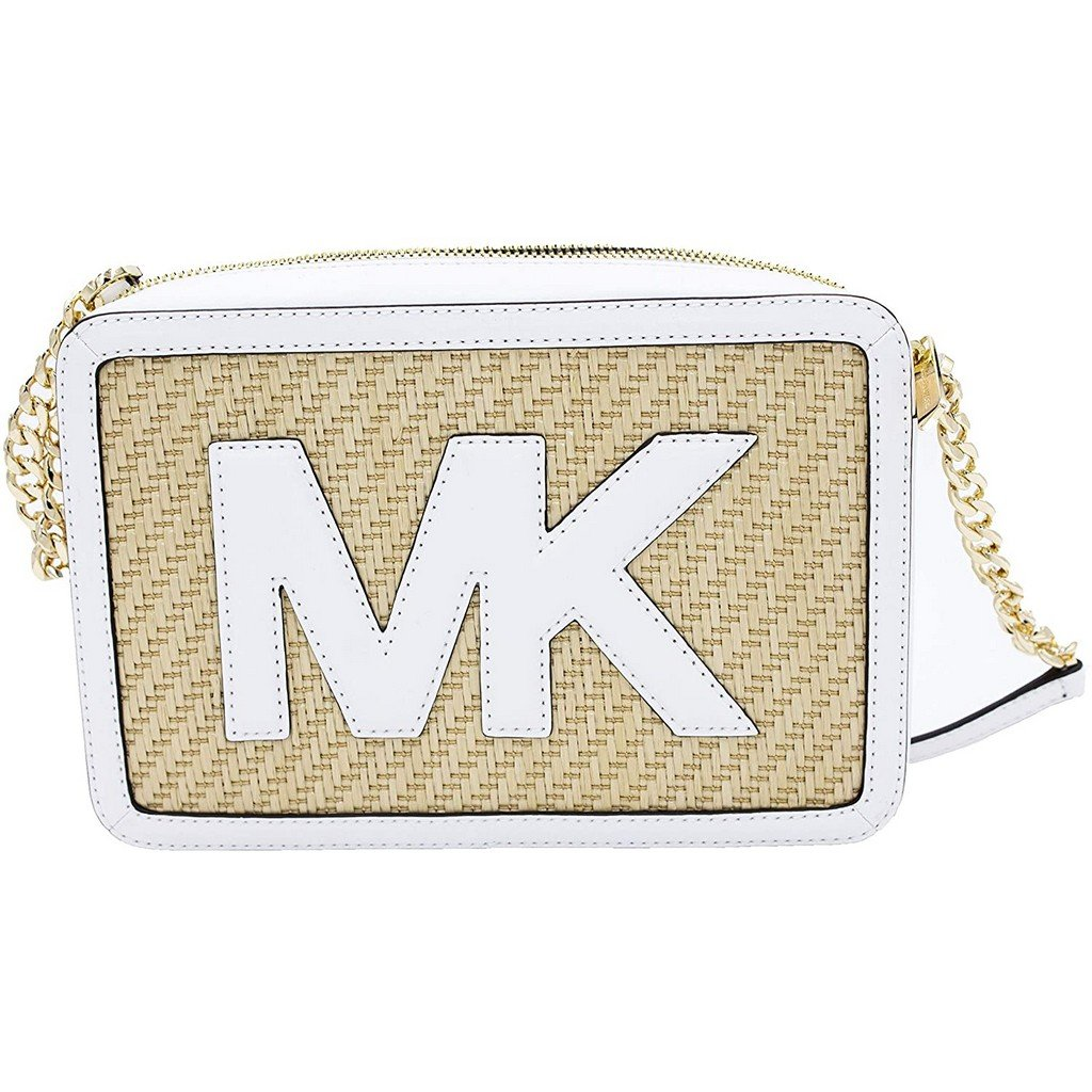 Michael Kors Women's Straw Python Crossbody Bag White MK29393