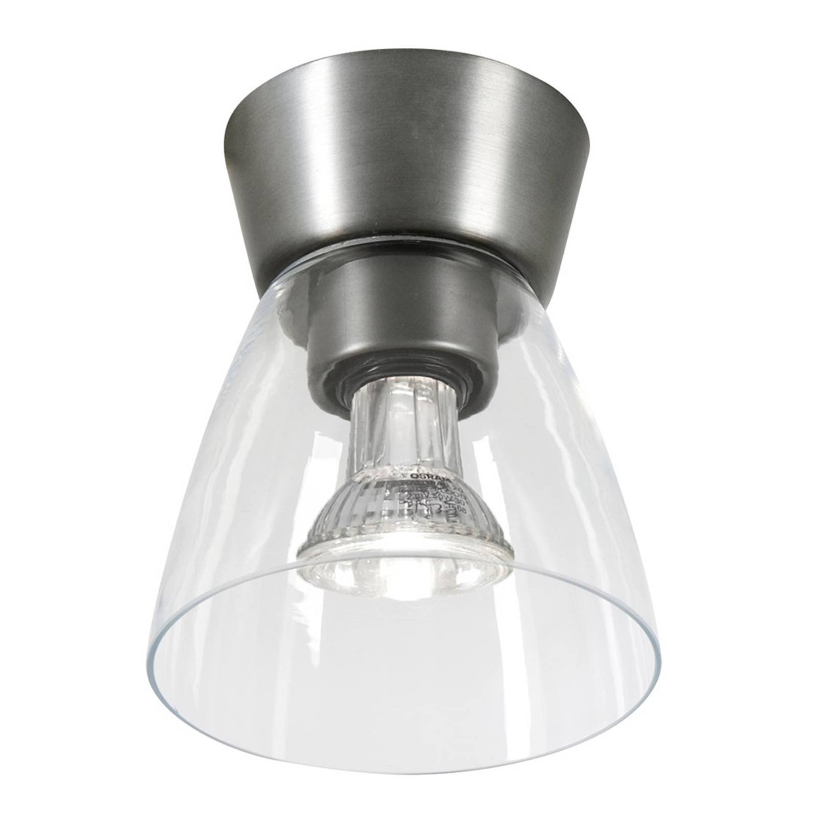 LED-taklampe Bizzo klart glass, oksidgrått