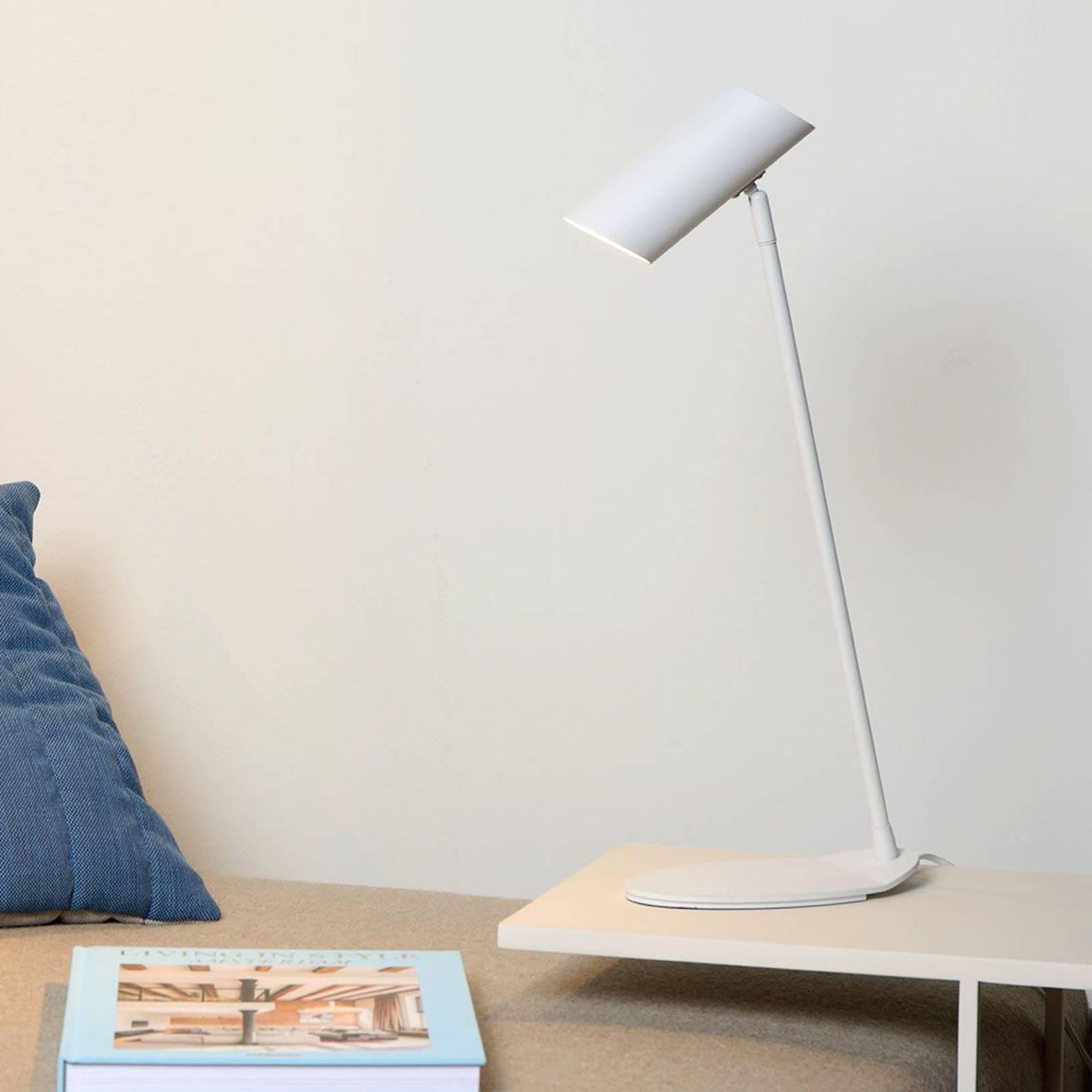 Valkoinen Hester-työpöytälamppu metallia