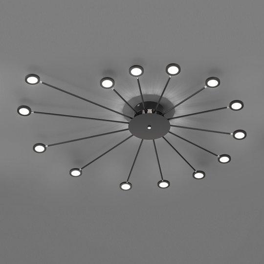 LED-taklampe Peacock, 15 lyskilder, svart
