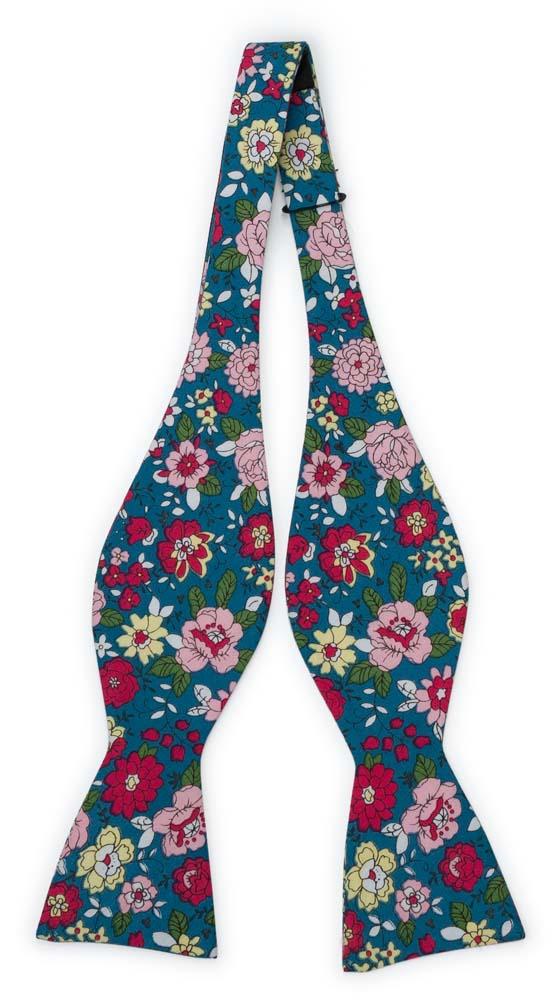Bomull Sløyfer Uknyttede, Blomster i rødt, rosa, gult og mørk Bondi Blue