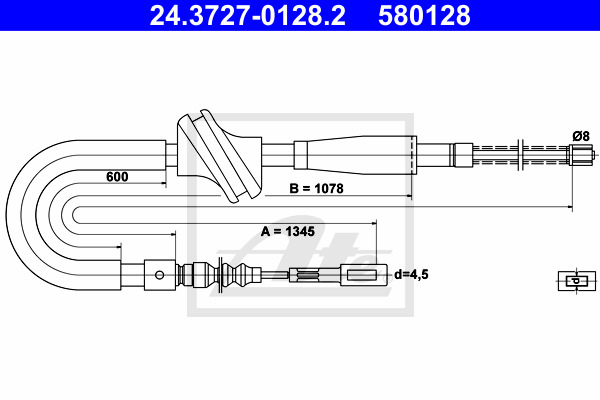 Käsijarruvaijeri ATE 24.3727-0128.2