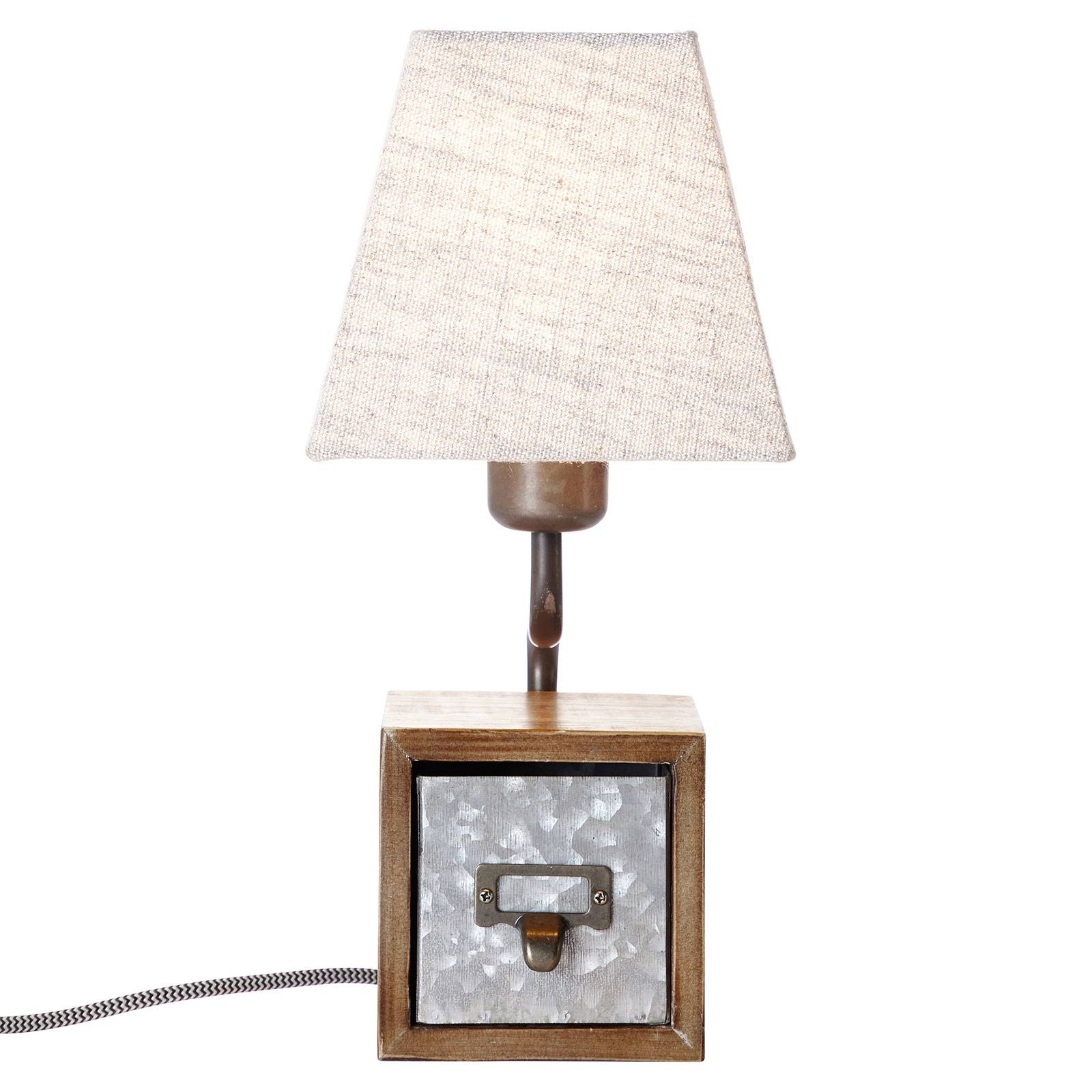 Tekstiilipöytälamppu Casket vetolaatikolla