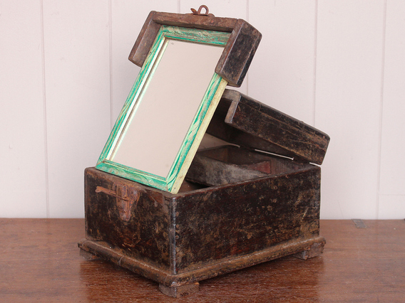 Shaving Box With Mirror Brown Small