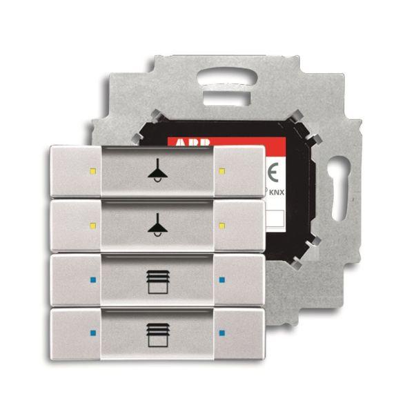 ABB Impressivo 6117-0-0223 Painike 4-napainen painike, väyläliitäntäyksiköllä, KNX Alumiini