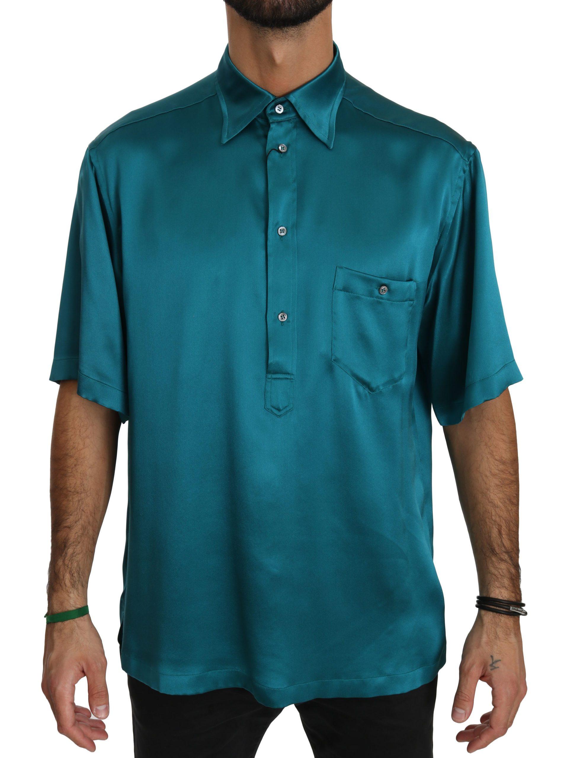 Dolce & Gabbana Men's Short Sleeve 100% Silk Shirt Blue TSH4016 - IT40   M