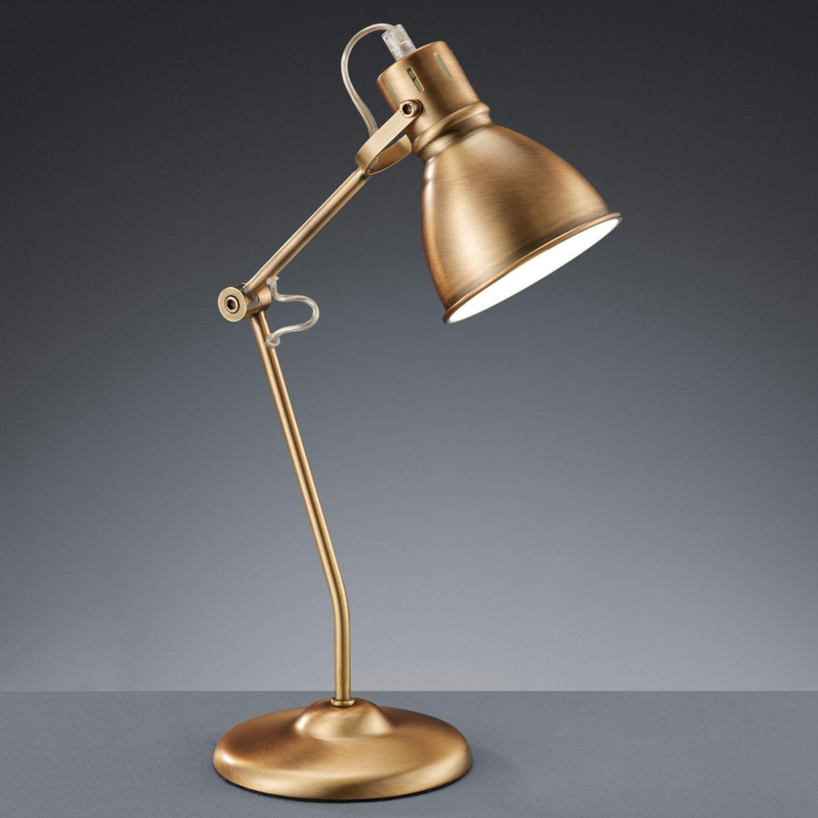 Vakker bordlampe Keali antikkmessing
