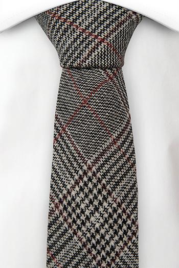 Ull Smale Slips, Glen check in beige, black & a red stripe, Notch CEDRIC
