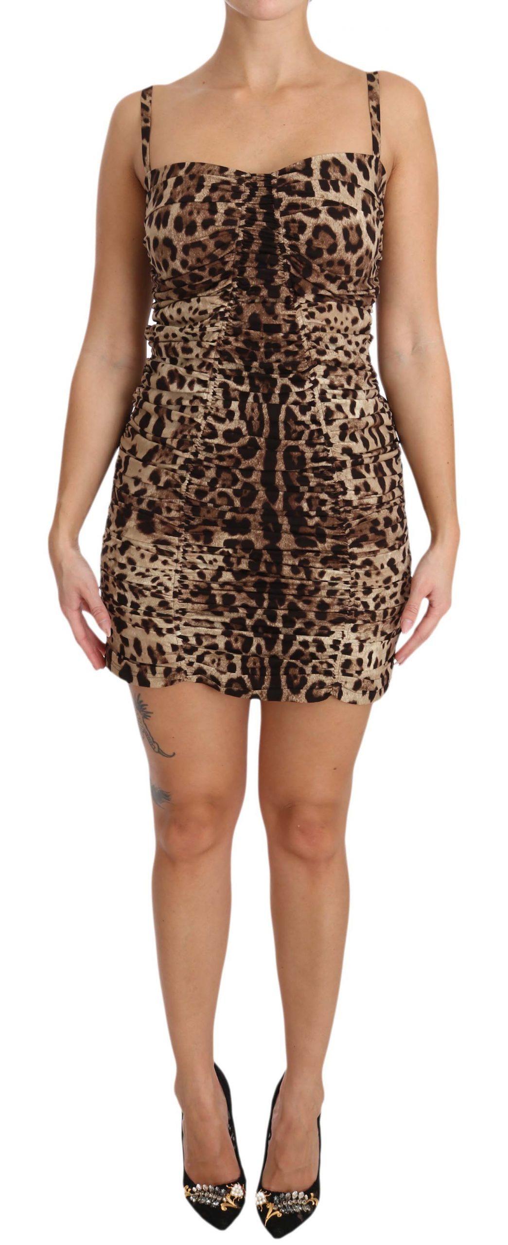 Dolce & Gabbana Women's Leopard Silk Sheath Bodycon Dress Brown DR1610 - IT48 | XL