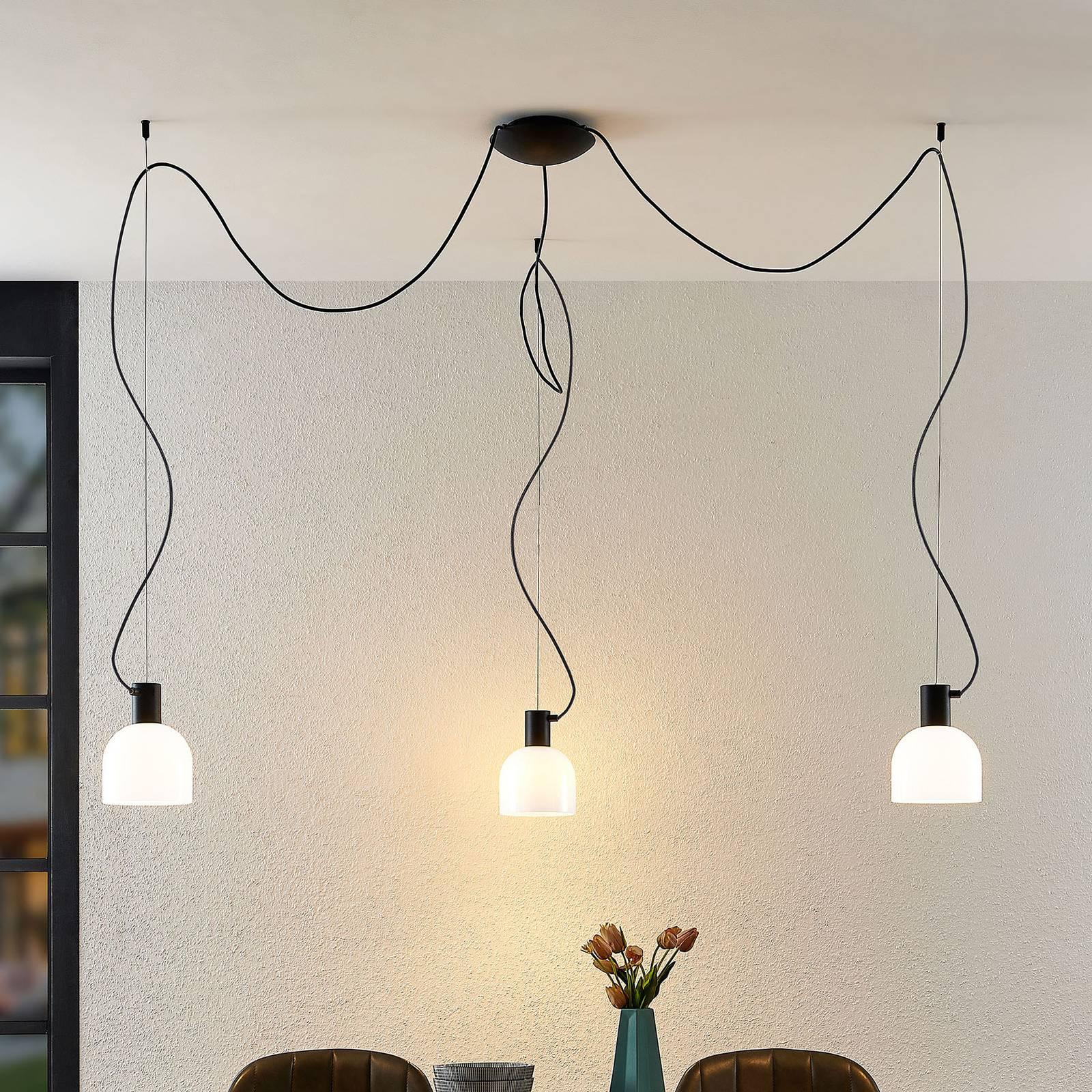 Lucande Serina -riippuvalo, 3-lamppuinen valkoinen